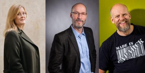 Kolmessa erillisessä kuvassa vasemmalta oikealle kirjailija Reetta Aalto, kääntäjä Tapani Kärkkäinen ja professori Janne Saarikivi.
