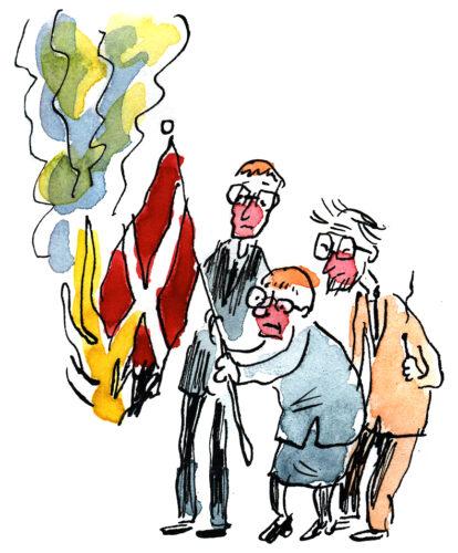 Ville Rannan pilapiirros vuodelta 2006, jossa Suomen valtiojohtoa palavan lipun kanssa.