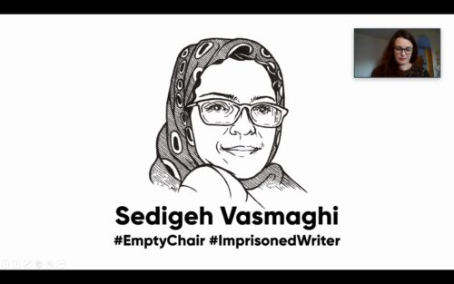 PEN-kongressissa tyhjä tuoli oli omistettu Segideh Vasmaghille. Kuva Zoom-etäkokouksesta, jossa mustavalkoinen piirroskuva Segidehistä.