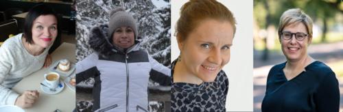 Helsinki puhuu -tapahtuman keskustelijat Minna Intke-Hernandez, Irma Luna Hernández, Nuppu Tuononen ja Henrika Nordin