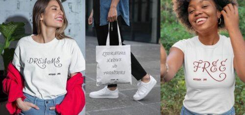 PENin ja Muumien yhteismalliston kuvia t-paidoista ja kangaskassista